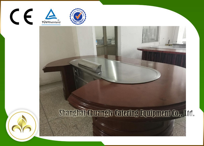 10 Seats Oval Shape Upper or Down Fume Exhaustion Teppanyaki Grill Table Electric Tube Heating