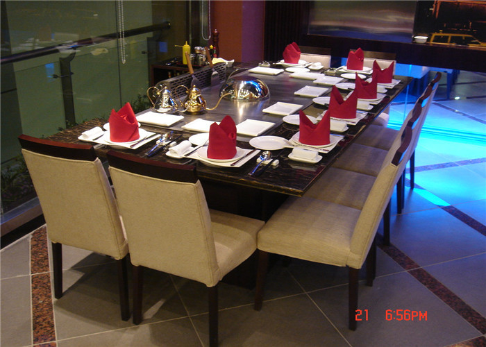 8 Seats Rectangle Teppanyaki Grill Table For Hotel / Restaurant